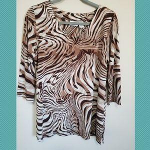 Chicos Animal Print V-Neck Blouse | 3/4 Sleeve